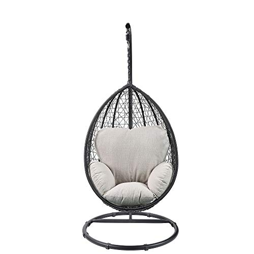 Hommoo Outdoor Patio Swing Chair Hanging Chair Cushion with Stand in Beige Fabric & Black Wicker for Home