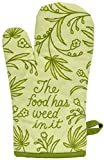 Blue Q Oven Mitt, The Food Has Weed in It, Super-Insulated Quilting, Natural-Fitting Shape, 100% Cotton