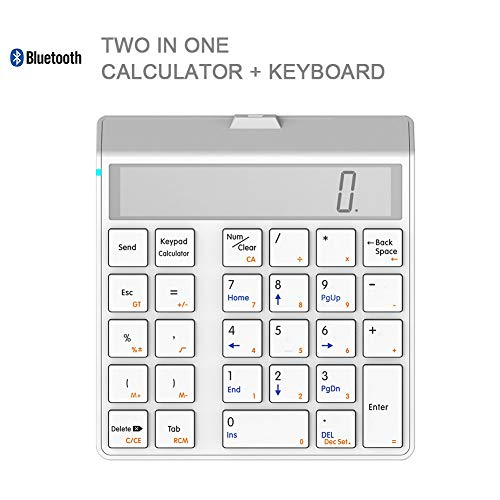 WYSSS Bluetooth-Ziffernblock, tragbares drahtloses Bluetooth-Tastenfeld mit 29 Tasten und externem Nummernblock mit Display-Rechner-Tastatur Langes Drücken zur Ausgabe von Nummern