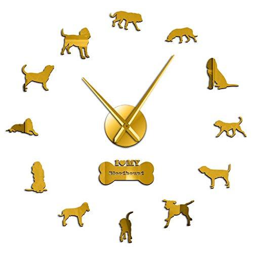 Leeypltm 3D Mute DIY große Wanduhr,Bloodhound Dog 47 Zoll Gold Modern Quartz Lautlos Wanduhr Für Büro/Heim/Schule/Hotel/Café