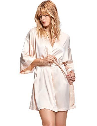 DOBREVA Kimono con Escote de Seda Ropa de Dormir Albornoz Dama de Honor Beige M/L