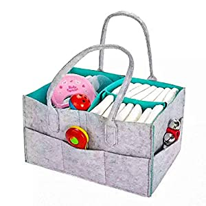 Baby Diaper Caddy Organizer, Portable Nursery Storage Basket for Baby Diaper, Nursery Essentials Storage bins gifts for Changing Table and Car with 2 Pacifier Clips, 2 Bibs