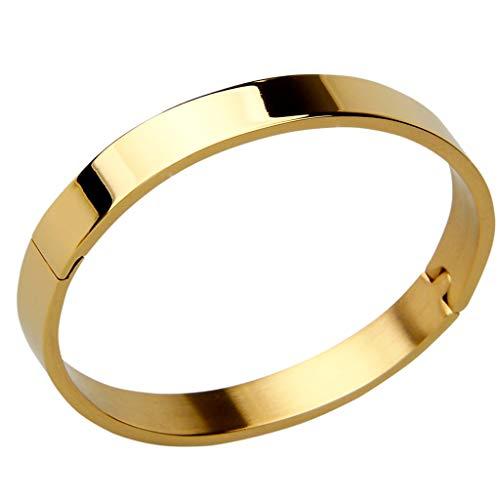 F Fityle Edelstahl Schmuck Breit Armband Armreif Manschette armschmuck Armband - Golden