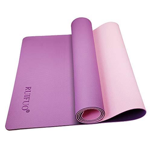 RUIFUO Yoga Mat,Gymnastics Mat,Fitnessmatte,TPE,SGS,Hypoallergenic Sports Mat für Yoga,Pilates,Gymnastics,Doppelseitiges Design,rutschfest mit Tragegurt,183/61/0.6 cm(Purple/pink)