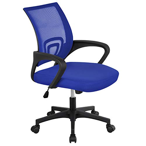Yaheetech Bürostuhl Drehstuhl ergonomischer Schreibtischstuhl höhenverstellbar Chefsessel mit Rollen Große Sitzfläche (Blau)