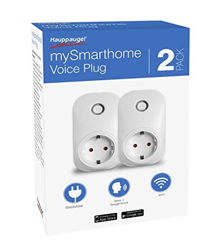 Hauppauge mySmarthome Voice Plug 01642 2er Pack WiFi smart Steckdose (Sprachsteuerung mit Amazon Alexa, Echo, Dot, Google Home, Steuerung via APP)