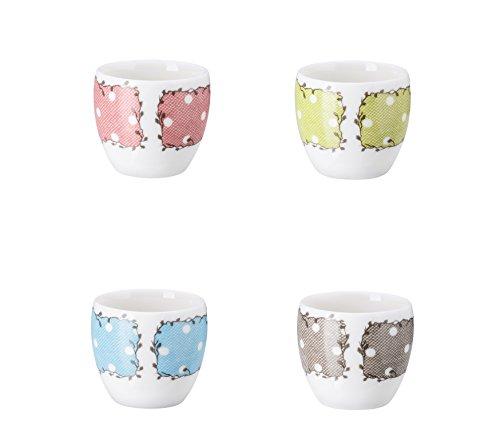 Hutschenreuther farbig Sortiert Set 4 Eierbecher, Porzellan, Mehrfarbig, 4 x 4 x 5 cm, 4-Einheiten