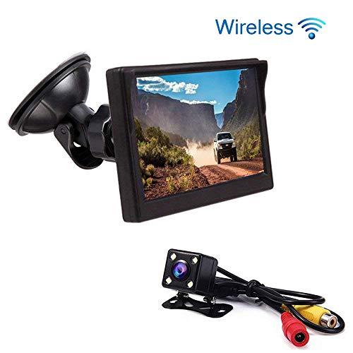 BEST4U Telecamera Retromarcia per Auto, Video Surveillance Kit Wireless Vision Angle 170 ° ad alta definizione 4.3 pollici TFT Screen