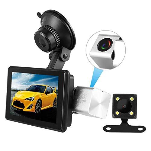 minifinker 1080P HD 4in GPS para automóvil de Doble Lente Supercondensador DVR Cámara grabadora, Sensor G de 3 Ejes y conexión inalámbrica Compatible con función de Marcha atrás automática