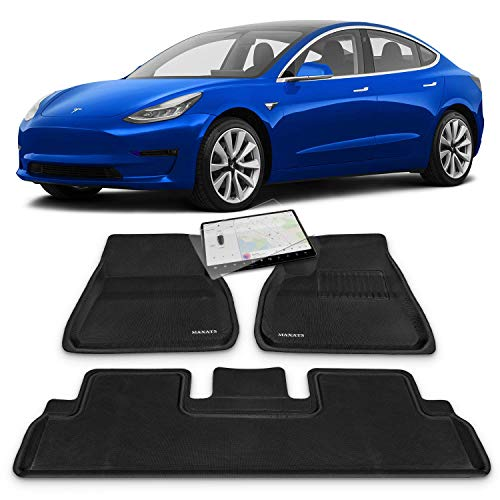 Maxats 3D Tesla Model 3 Complete Set All Weather Floor Mats with Free Screen Protector 2017-2020 - (4 Pack Front & Rear) Non-Odor Anti-Slip Accessories
