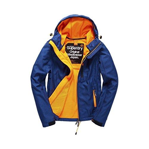 Superdry Herren Sportjacke Hooded Windtrekker, Blau (Eclipse Navy/Fluro Orange), Small