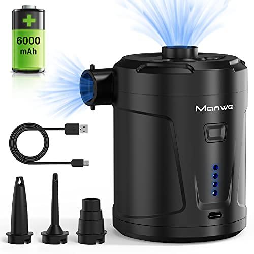 Manwe Elektrische Luftpumpe, 6000mAh Tragbare wiederaufladbare Luftpumpe akku Pumpe, verwendet für Luftkissen, Campingmatte, Wasserbälle, Schwimmbadspielzeug mit 3 Luftdüse