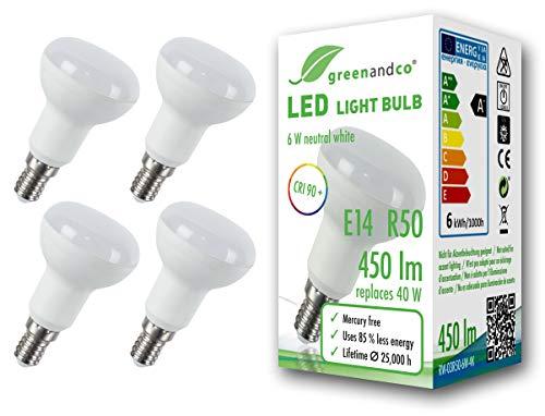 4x Lampadina a LED greenandco® IRC 90+ R50 E14 6W (equivalente 40W) 450lm 4000K (bianco neutro) 160° 230V AC, forma de reflector, nessun sfarfallio, non dimmerabile