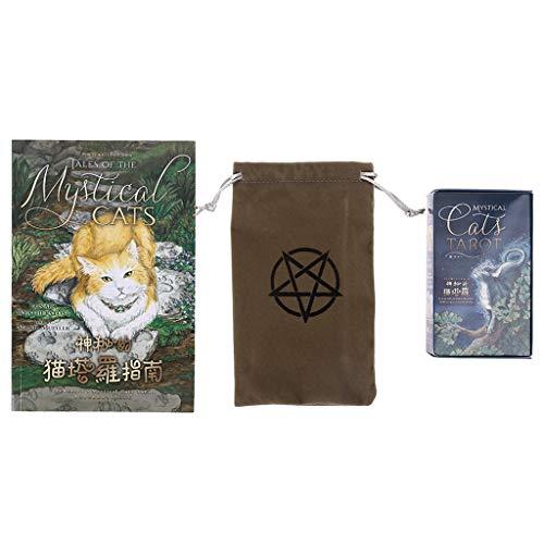 angwang Tarot, Mystical Cats Tarot 78 Cartas Deck Family Party Jogo de Tabuleiro Adivinhação com Bolsa de Cartas e Guidebook