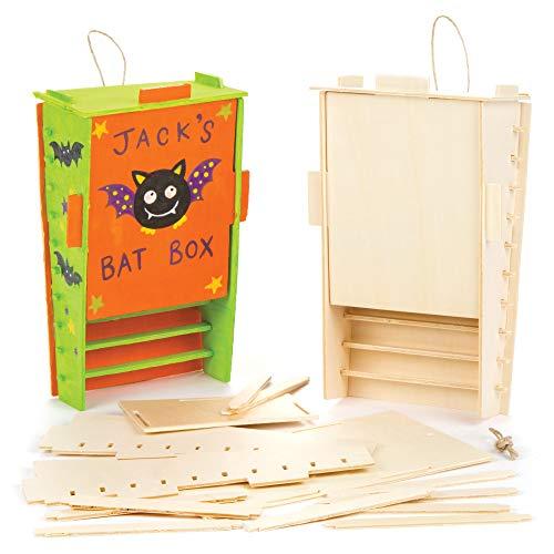 Baker Ross Bastelsets Fledermauskasten aus Holz für Kinder als Bastel- und Deko-Idee zum Gestalten für Jungen und Mädchen (2 Stück)