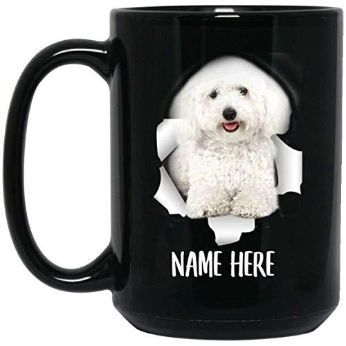 N\A Taza de café Negra con Nombre Personalizado Blanco caniche Miniatura Personalizado Divertido