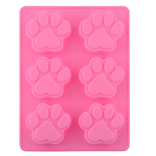 POPBLOSSOM BargainRollBack Silicone Dog Pet Animal Paw Print Ice Cube Chocolate Soap Candle Tray Mold Party Maker, MIX