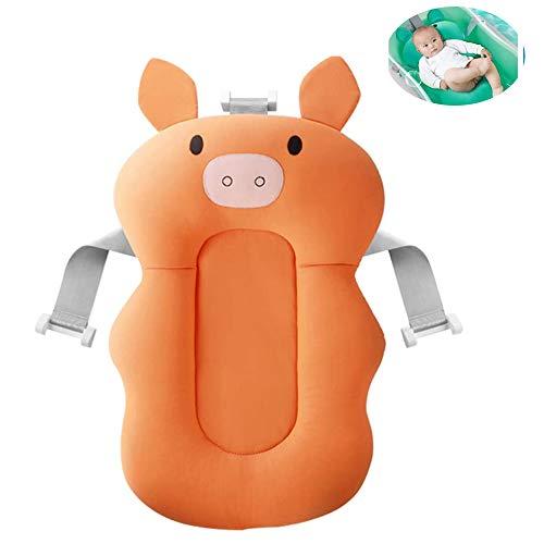 ZJJ 0-6 Monate Baby Tub Net, Babyparty Net, Babykissen Schwimmdock Kissen, Baby-Dusche Net (Für Tub), Comfortable Non-Slip Badezimmer Sitz Mit Einstellbarer,Orange