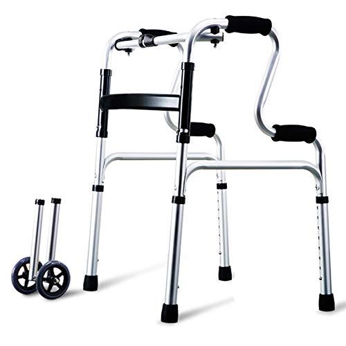 Rollator de 2 Ruedas Caminador Plegable, Andador para minusválidos, Altura Ajustable Caminante Anciano, Aluminio, Ligero, Empuñaduras Ergonómicas,B