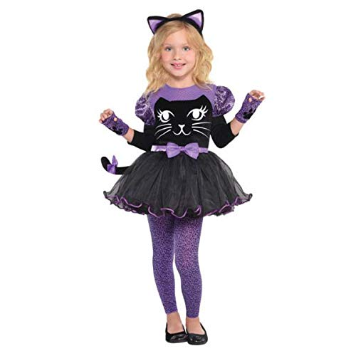 Amscan Girls Miss Meow Cat Costume - Toddler (3-4), Multicolor