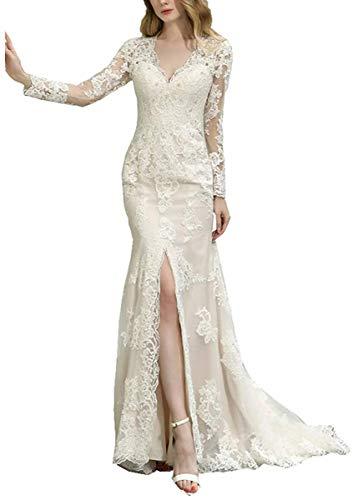 Dreammaking Damen V-Ausschnitt Trompete Meerjungfrau Brautkleider Spitze Hochzeitskleider Mit Lange Ärmel Brautkleid Prinzessin
