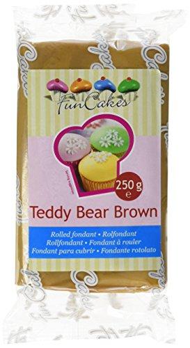 FunCakes Fondant Teddy Bear Brown: Einfach zu Verwenden, Glatt, Elastisch, Weich und Schmeidig, Perfekt zum Dekorieren von Torten, Halal, Koscher und Glutenfrei. 250 g