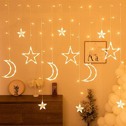 Ramadan Mubarak Decoración para Family Moon Stars LED Cortina Cortina Cadena de Luz Guirnalda Ramadán Decoración navideña 220V (Color : Style2)