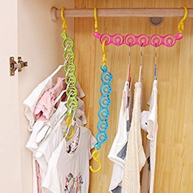 Generic Black   3pcs Multi-Function redating Plastic Clothes Hanger 6-Hole Space Saver Wonder Magic Hook Closet Drying Rack Organizer