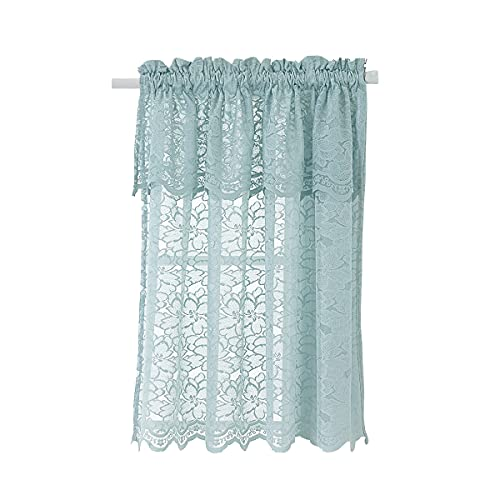 HomeyHo Lace Small Curtains for Kitchen Windows Sheer Tier Curtain with Attached Valance Small Curtain Window Short Curtains for Small Window Pattern Half Window Cafe Curtain 29 x 36 Inch Seafoam