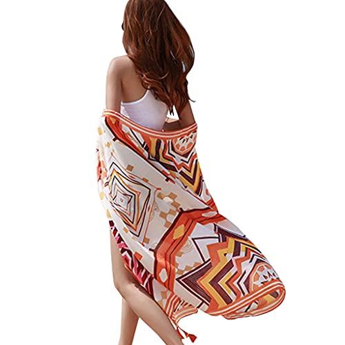 HOUHUILAN Beach Long Boho Sarong Costume da Bagno Donna Wrap Cover Up Protezione Solare Morbida Scialle Bikini Avvolge Protezione Solare Sciarpa da Spiaggia