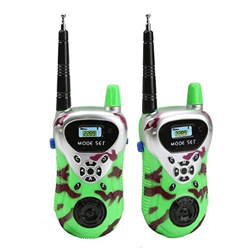 HIZQ Walkie Talkie para Niños Y Niñas De 3 A 12 Años con Linterna LCD Retroiluminada De Largo Alcance De 200 M para Seguridad del Bebé Juguetes Al Aire Libre para Niños,Verde