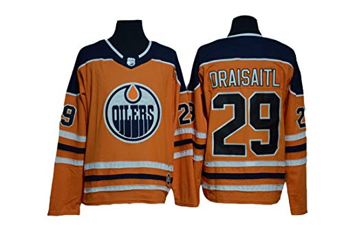 Gmjay Draisaitl # 29 Hockey Trikot Edmonton Oilers Hockey Orange Genähte Buchstaben Zahlen Langarm Hockey Trikot,orange,M