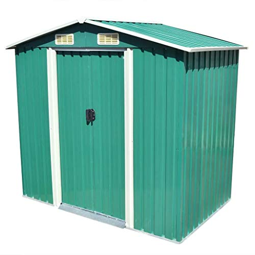 ZAMAX Galvanized Steel Outdoor Storage Shed Kit with Sliding Doors Perfect to Store Patio Furniture, Gardening Tools, Bike Accessories, Beach Chairs and Push Lawn Mower, Green