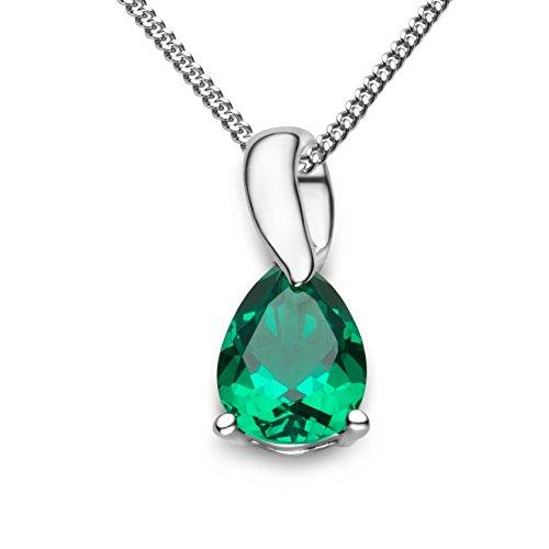 Miore Kette Damen Halskette mit Tropfen Anhänger Edelstein/Geburtsstein Smaragd in grün Kette aus Weißgold 9 Karat / 375 Gold Halsschmuck 45 cm lang
