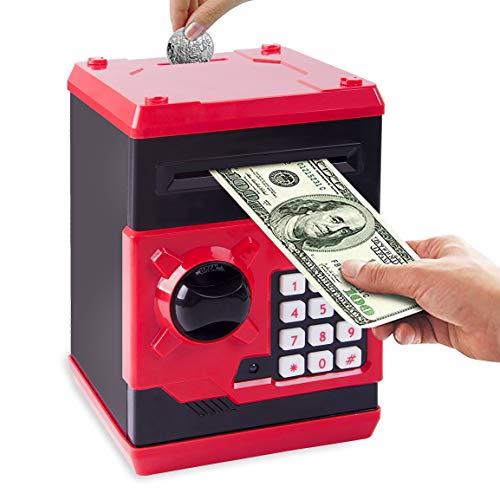 Ltteaoy Elektronische Spardose Tresor Münze Geld Safe Kinder ATM Geldmünzbanken mit Passwortschutz, automatische Automatische Papiergeldrolle, Geburtstag Geschenke für 5-12 Jahren Mädchen Junge (Rot)