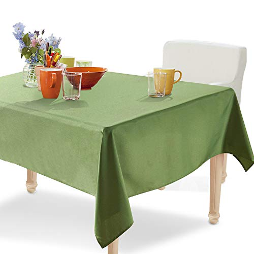 YEMYHOM Spill-Proof Fabric Rectangle Tablecloth for Dining Room, Wedding and Party (60 x 104, Army Green)