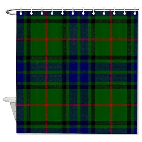 Duschvorhang aus Stoff, grün-blau, kariert, rote Linien, Duschvorhang für Badezimmer, wasserdicht, mit 12 Haken, maschinenwaschbar, 183 x 183 cm