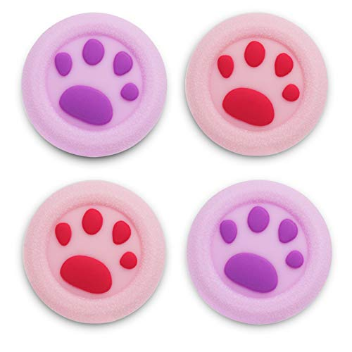 Playrealm Soft Rubber Silicone 3D Texture Thumb Grip Cover x 4 for PS5, PS4, Xbox Series X/S, Xbox One, Switch PRO Controller(Cat Paw Coral Purple)