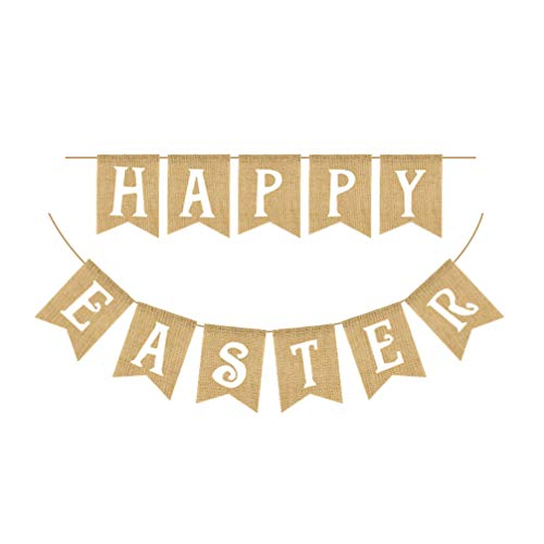 Amosfun Carteles de Fiesta de Pascua Lino Feliz Impresión de Letras de Pascua Pancartas de Golondrina Accesorios de Diseño Suministros de Guirnaldas de Empavesado para Decoraciones de Fiesta