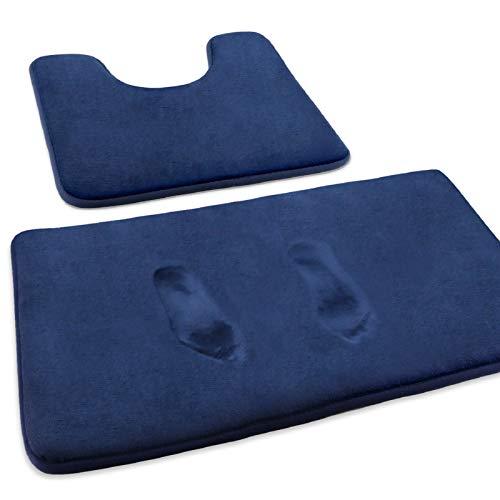 MEKO Badematte, 2 Set rutschfeste saugfähiger Badteppich und U-förmiger Konturteppich Fußmatte für Badezimmer Dusch, maschinenwaschbar und super weich (Dunkelblau)
