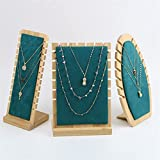 Aiglen 3pcs Bamboo Wood Jewelry Jewelry SUP Stand Collana Vetrina Holder Pendant Catena Lunga Appeso Organizzatore Anelli Collana Collana