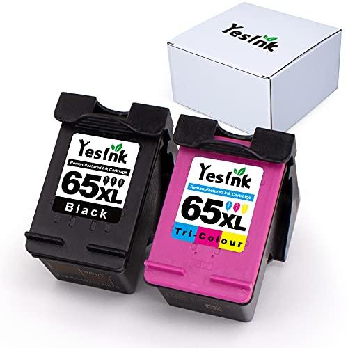 YesInk - Cartucho de tinta para impresora HP 65XL 65 XL compatible con Envy 4520 4512 4516 Officejet 5252 3830 3833 4655 5255 Deskjet 1112 2130 3630 3634 (negro y color)