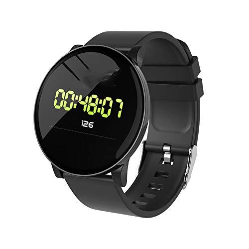 Smartwatch, Fitness-Tracker, Gesundheitsüberwachung, mehrere Anschlüsse, wasserdicht (Schwarz, Silikon)