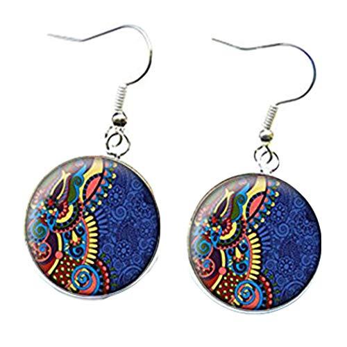 Elf House Pendientes multicolores patrones, cabujones de cristal, fondo azul, cúpula de cristal joyas, puro hecho a mano