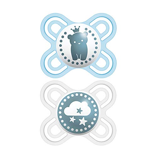 MAM Perfect Start Pacifiers, Orthodontic Pacifiers (2 pack, 1 Sterilizing Pacifier Case) MAM Newborn Pacifiers, Best Pacifier for Breastfed Babies, Baby Pacifiers, Baby Girl, Designs May Vary