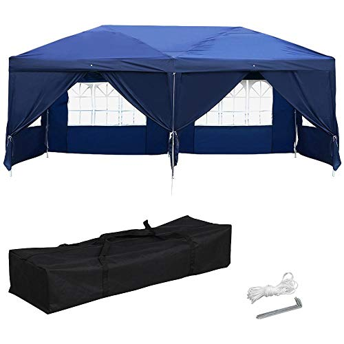 Yaheetech 10 x 20ft Outdoor Pop Up Canopy Tent Gazebo Party Wedding BBQ Pavilion Canopy Events Tent with 6 Removable Sidewalls and Windows