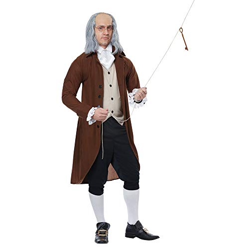 California Costumes Men's Benjamin Franklin-Colonial Man-Adult Costume, Brown/Tan/Black, X-Large