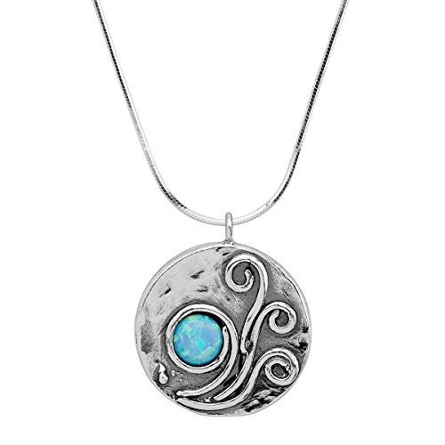 Silpada 'in a Breeze' Created Blue Opal Pendant Necklace in Sterling Silver