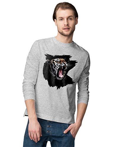 BLAK TEE Hombre Roaring Tiger in High Detail Camisa De Manga Larga S
