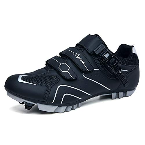LQX Men Road Cycling Shoes with Cleats SPD-SL Compatible Wear Resistant Mountain Bike Shoes Women Bicycle Shoe with Velcro and Reflective Strip (Color : Black, Size : UK-6.5/EU40/US-7)